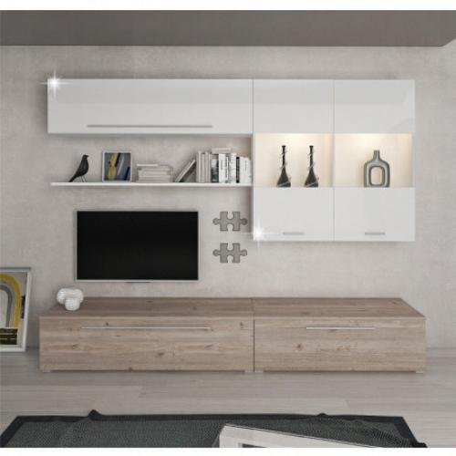 Obývací stěna, MDF / DTD laminovaná, dub nelson / bílý HG, SOFI, Tempo Kondela