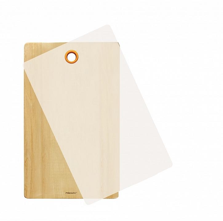 Dřevěné prkénko Fiskars s odnímatelným plastovým krytem pro snadné oplachování