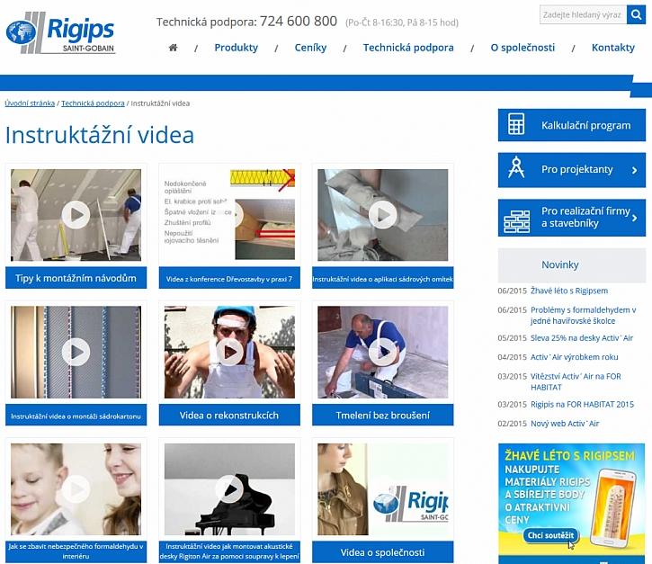 Rigips spustil nové internetové stránky