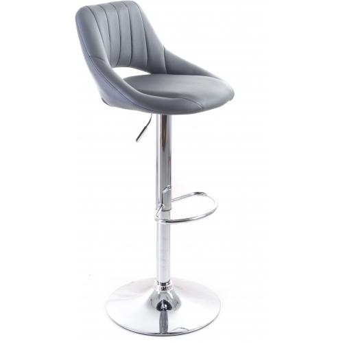 G21 Barová židle Aletra koženková, prošívaná šedá