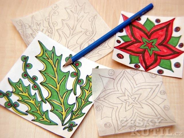 Vánoční ubrus výtvarnou technikou barevného soutisku z lina a linorytu