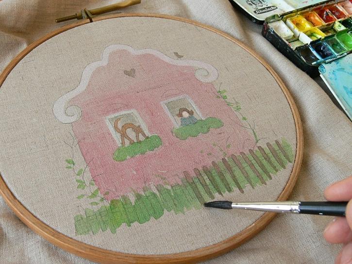 Postup na akvarelovou malbu s vyšíváním