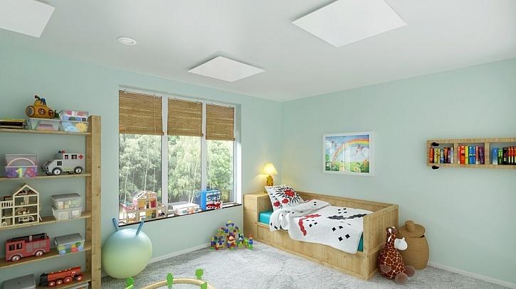 Skleněný sálavý panel ECOSUN GS v dětském pokoji