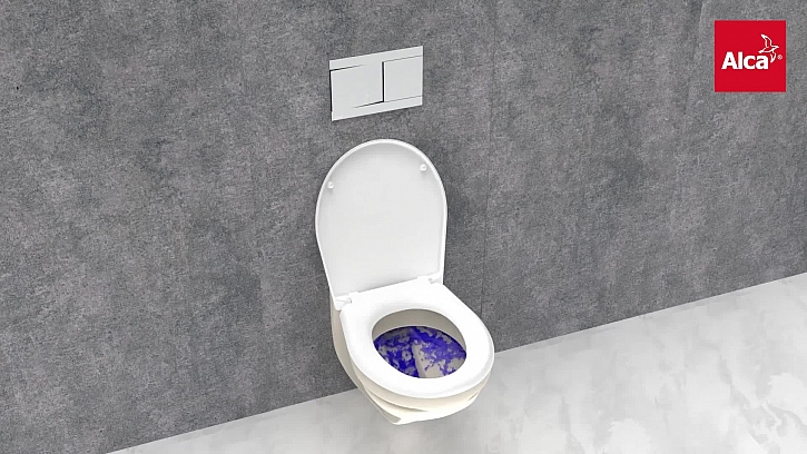 Fachman Pepa v zajetí WC modulů v showroomu AlcaPlastu