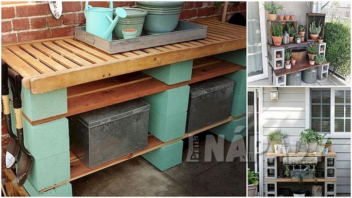 Betonové tvárnice: pracovní stoly na zahradu