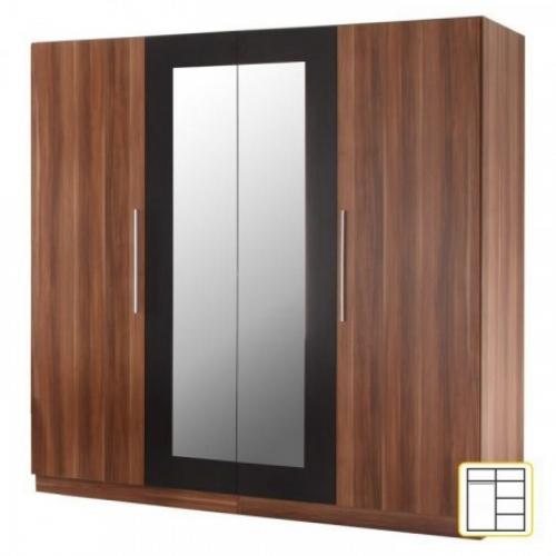 Čtyřdveřová skříň, zrcadlová, ořech / černá, MARTINA, Tempo Kondela