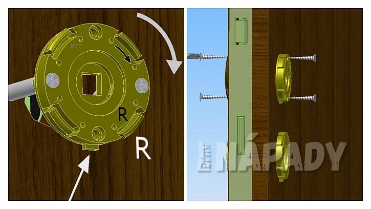 Směr pohybu kliky; přišroubání hlavních a vedlejší šroubů