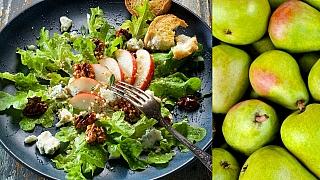 Karamelové hrušky na salátu svlašskými ořechy amedem