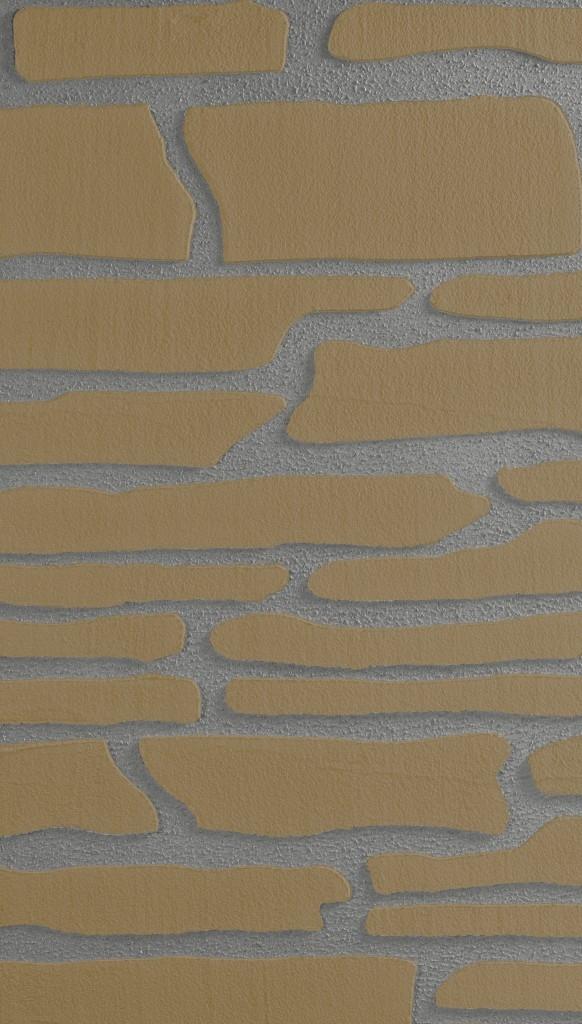 Imitace kamenného obkladu v tmavých barevných odstínech.