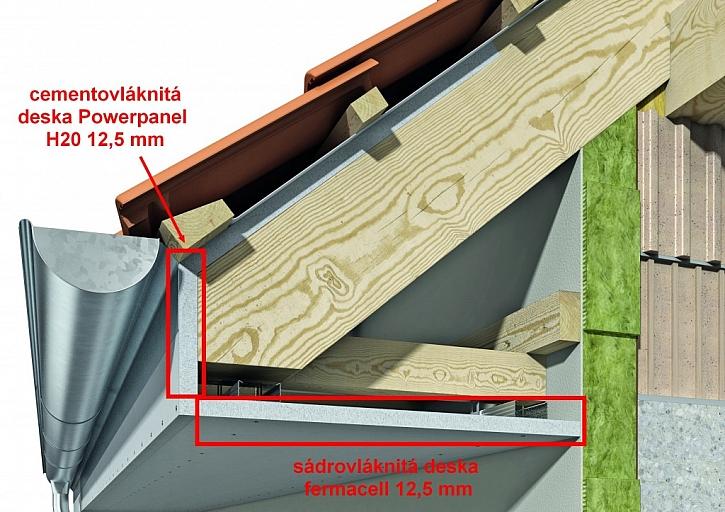 Detail řešení podhledu při namáhaní konstrukce zavěšeného podhledu pouze vzdušnou vlhkostí a kombinaci cementovláknitých desek fermacell Powerpanel H2O 12,5 mm a sádrovláknitých desek fermacell 12,5 mm