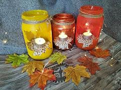 Návod na recyklace sklenic od okurek a podzimní tvoření svícnů