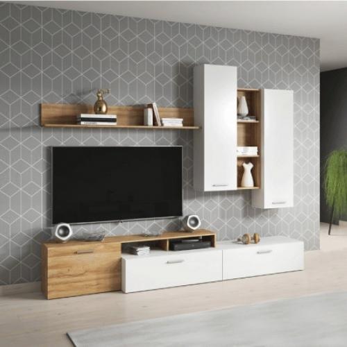 Obývací stěna, dub grandson/bílá, EVORA, Tempo Kondela