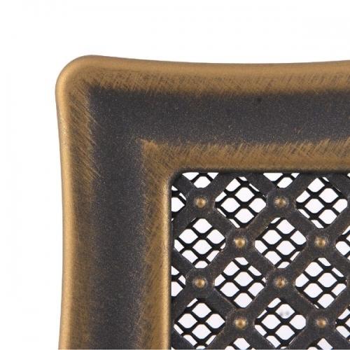 Krbová mřížka 16x16cm s žaluzií DECO zlatá patina