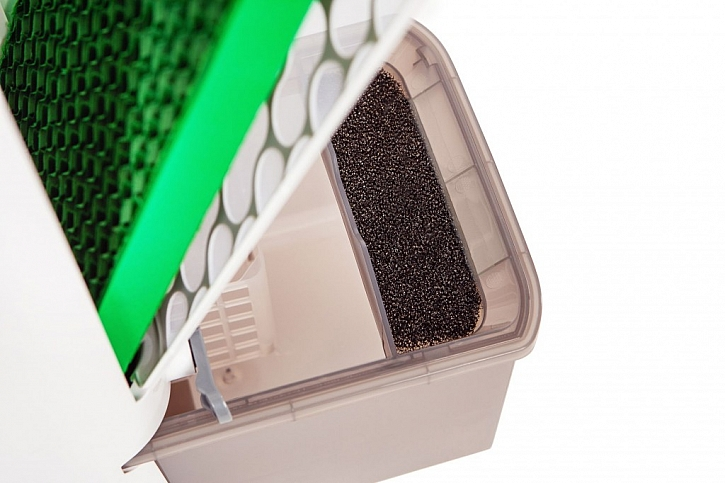 Pohled do čističky vzduchu s integrovanými filtry