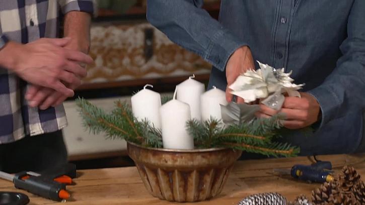 Umělá bíla vánoční růže
