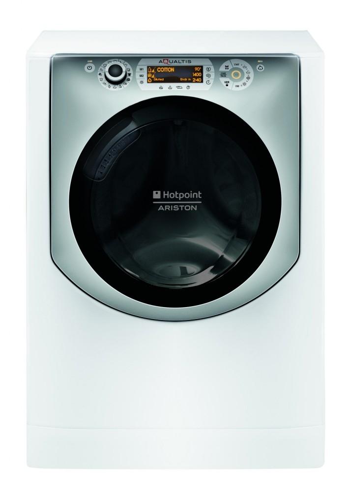 Tichá velkokapacitní pračko-sušička Hotpoint Aqualtis AQD970D 49 EU/B s osobitým vzhledem