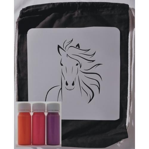 Sada na tvoření - Batůžek kůň /neon oranžová červená fialová