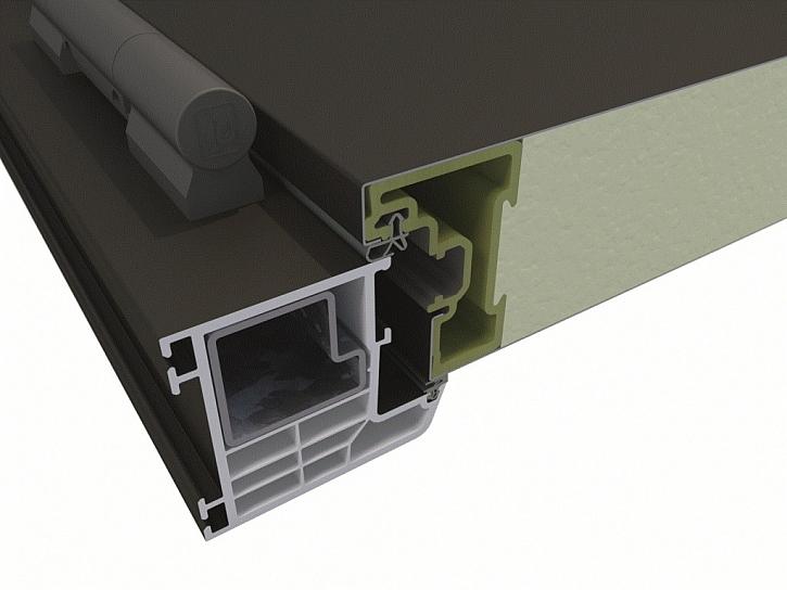 Nové domovní dveře Rovex firmy Inoutic sázejí na inovativní rám křídla s vyztužením skleněnými vlákny pro maximální odolnost proti zkroucení a průtahu.