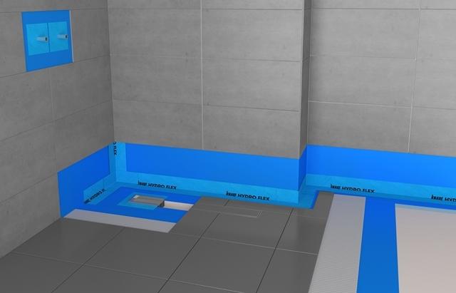 Systém Knauf Hydroflex (Knauf Hydroizolace+ těsnící pásky-rohy a manžety).