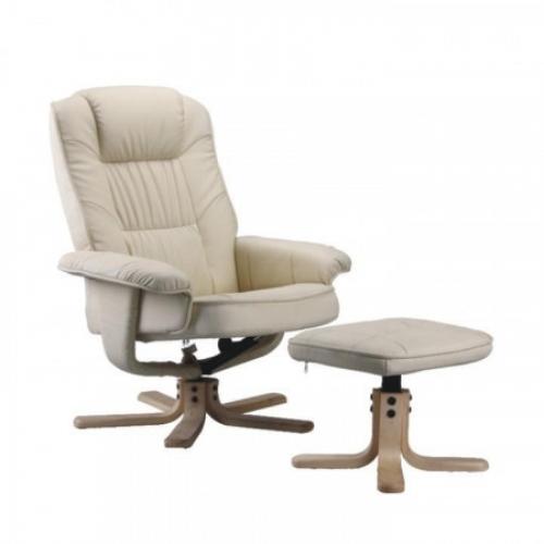Relaxační křeslo, polohovatelné, béžová, EDDIE, Tempo Kondela