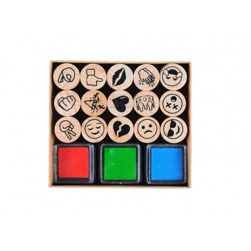 Wiky razítka W003098 mix dřevo 15ks + inkoust 3ks