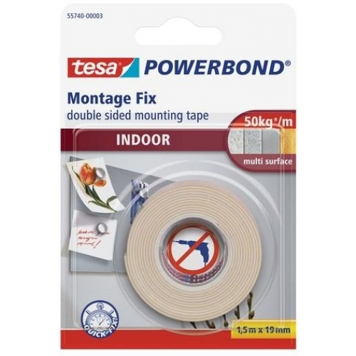 TESA Powerbond Montážní oboustranná pěnová páska pro interiér, bílá, 1,5m x 19mm
