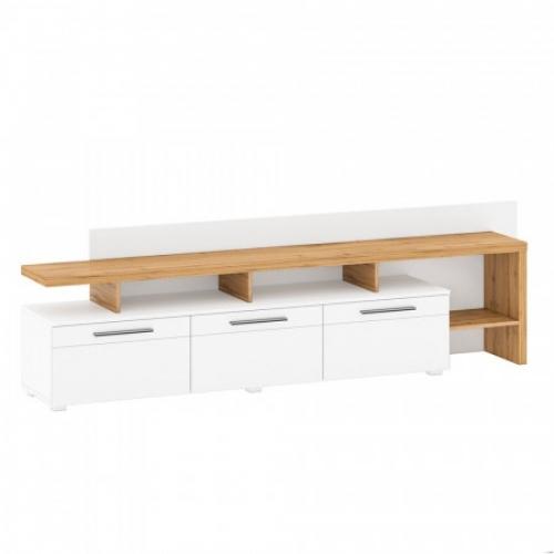 RTV stolek s panelem, dub Wotan / bílá extra vysoký lesk HG, KELEN B + C, Tempo Kondela