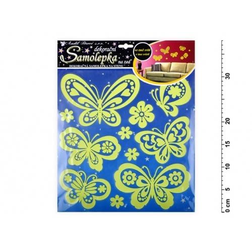 Anděl samolepící dekorace 10109 svítící ve tmě motýli 38x31cm