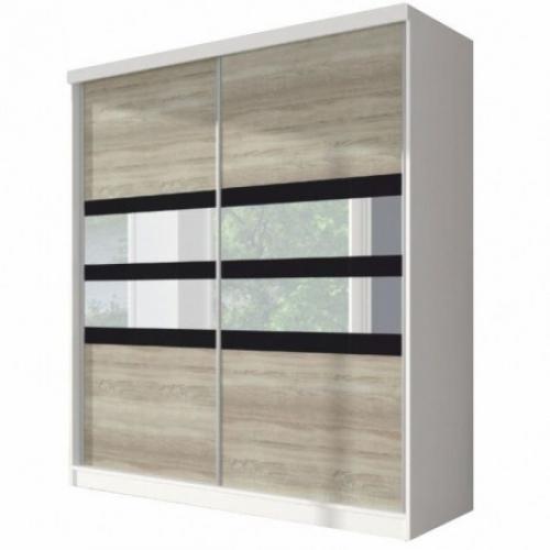 Skříň s posuvnými dveřmi, dub sonoma / bílá / černé sklo, 233x218, MULTI 10