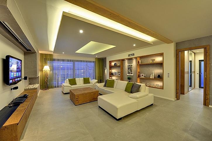 Dřevostavba rodinného domu, interiér s využitím RigiStabilu