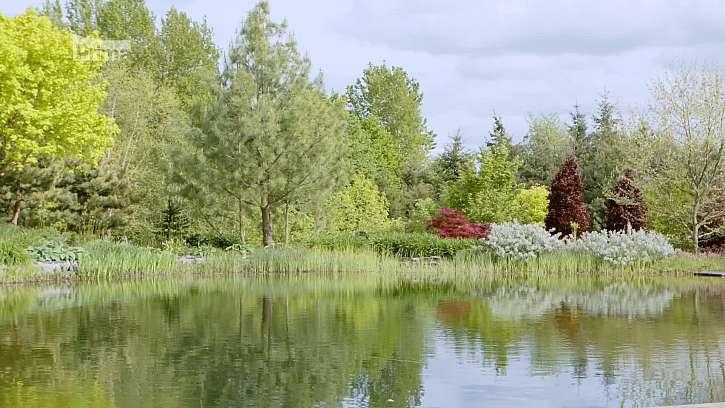 Koupací jezírko je jen jeden z mnoha prvků, zadržujících vodu v této zahradě