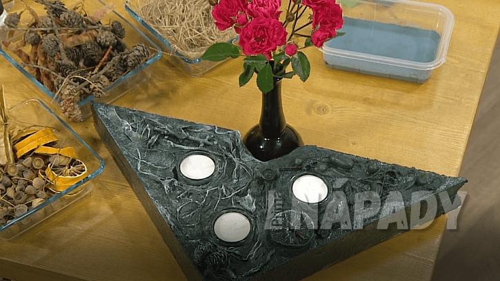 Dekorativní svícen z polystyrenu a textilního ztužovadla