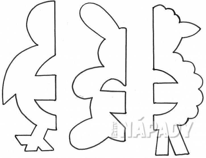 Zvířátka z papíru: šablona