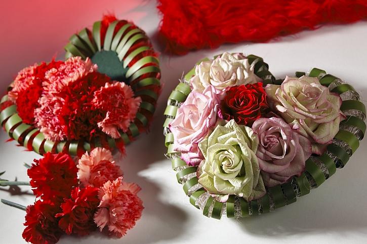 Valentýnské srdce z romantických růží