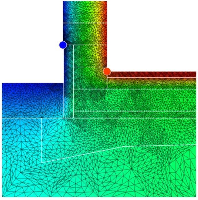 Obrázek č.2 Posouzení detailu založení základové desky na pěnovém skle se zatepleným soklem xps polystyrénem