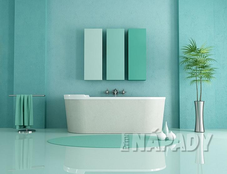 Koupelna v zelených tónech s oválnou vanou