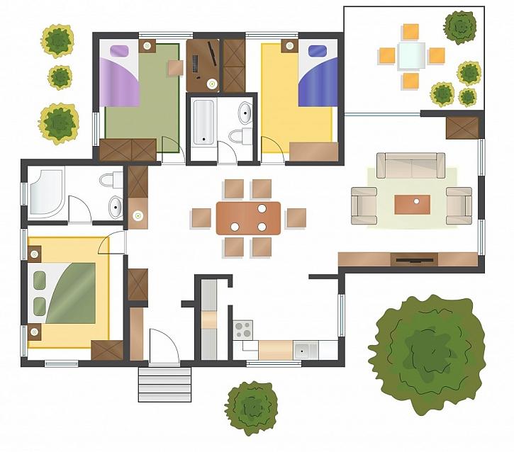 Na návrhu dispozice domu vidíme výhody i případné nevýhody dané varianty, je třeba si dát pozor, zda je z hlediska měřítka vše v pořádku
