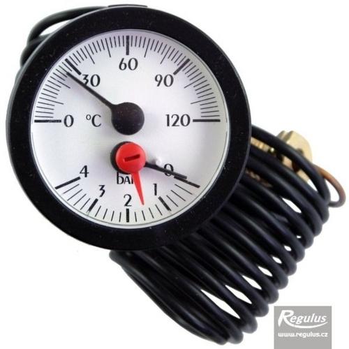 REGULUS Termomanometr 0-120°C, 0-4 bar, kapilára 1 m, d=57,5 mm 030234 (520.70125.00A)