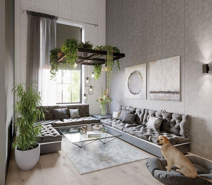 šedý obývací pokoj