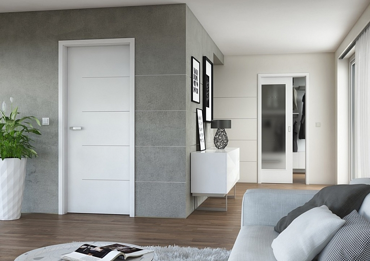 Dveře LOTOS. Cena plných dveří LOTOS 13 v bílé hladké barvě je 5 790 Kč bez DPH, cena dveří LOTOS 43 s prosklením je cena 8 890 Kč bez DPH.