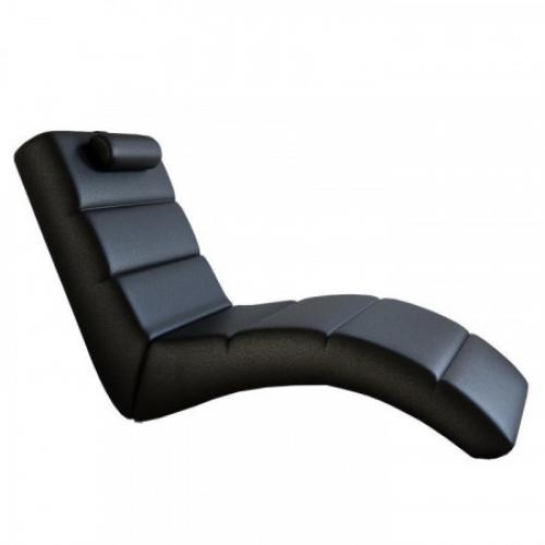 Relaxační křeslo, černá ekokůže, LONG, Tempo Kondela