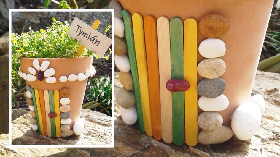 DIY ozdobný květináč na bylinky: Pohrajte si skamínky