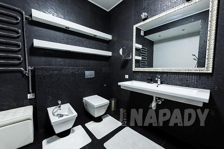 Černobílá koupelna se stříbrnými a bílými doplňky