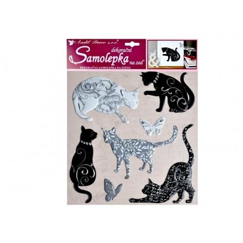 Anděl samolepící dekorace 10228 kočky se stříbrným dekorem 38x31 cm