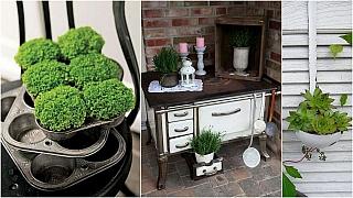 Kuchyně v zahradě: Jak využít staré nádobí adalší kuchyňské doplňky na zahradní dekorace