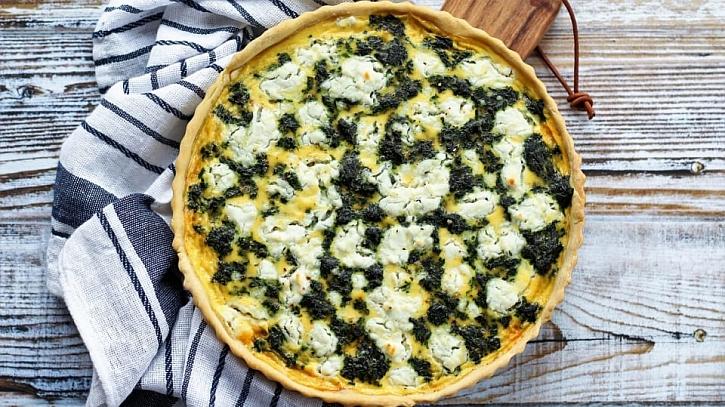 Recept na slaný koláč se špenátem a kozím sýrem