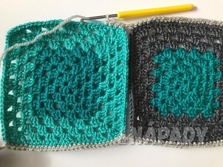 Originální háčkovaná patchworková deka: spojování řad