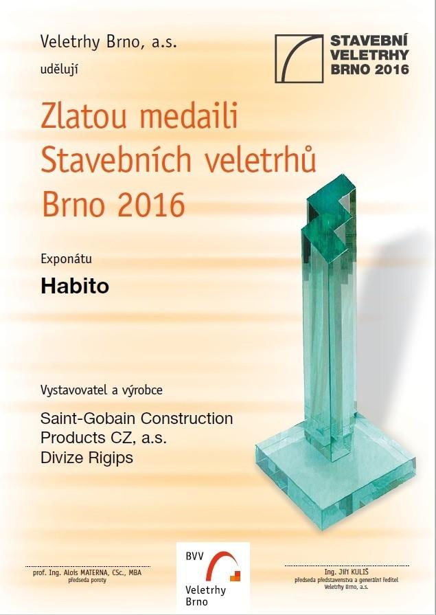 Habito od Rigips získala ocenění na Stavební veletrhu v Brně