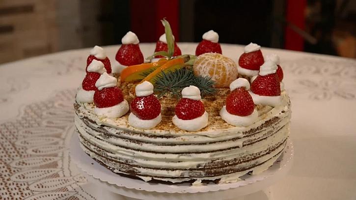 Recept na perníkový dort s mikulášskými čepicemi