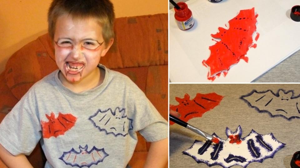 Halloween pro děti: Strašidelné tričko snetopýry snadno arychle